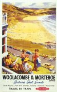 Woolacombe and Mortehoe, Devon. British Railways Vintage Travel Poster by Harry Riley